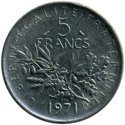 Coin > 5 francs, 1971 - France  - obverse