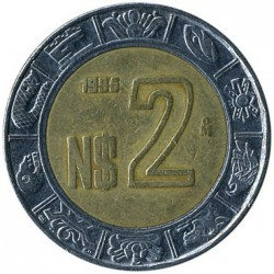 Coin > 2 new pesos, 1992-1995 - Mexico  - obverse