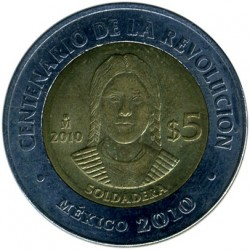 Coin > 5 pesos, 2010 - Mexico  (Centenary of Revolution - La Soldadera) - obverse