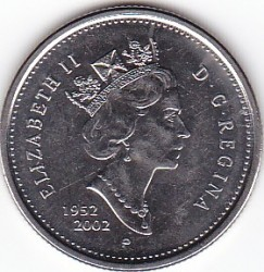 Coin > 25 cents (quarter), 2002 - Canada  (50th Anniversary - Succession of Queen Elizabeth II) - obverse