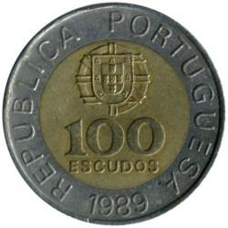 Coin > 100escudos, 1989 - Portugal  - obverse