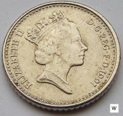 Coin > 5 pence, 1991 - United Kingdom  - obverse