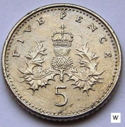 Coin > 5 pence, 1991 - United Kingdom  - reverse