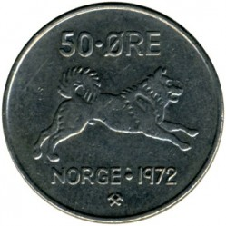 Coin > 50 ore, 1958-1973 - Norway  - reverse
