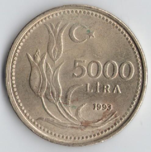 5000 Lira 1992 1994 Türkei Münzen Wert Ucoinnet