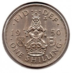 Scottish crest; without /'IND:IMP/' 1949  1 Shilling Scottish  UK Crowned Lion holding sword and sceptre. 12 pence 120 post WW2
