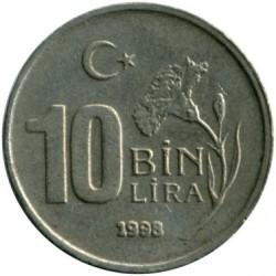 Moneda > 10.000liras, 1997-2001 - Turquía  - reverse
