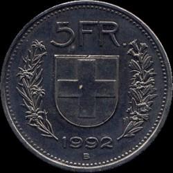 Moneta > 5franków, 1992 - Szwajcaria  - reverse