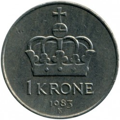 Coin > 1krone, 1974-1991 - Norway  - reverse