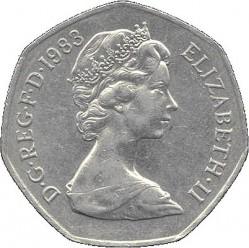 Moneta > 50pensų, 1982-1984 - Jungtinė Karalystė  - obverse