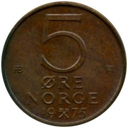 Coin > 5 ore, 1975 - Norway  - obverse