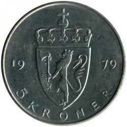 Munt > 5kroner, 1974-1988 - Noorwegen  - reverse