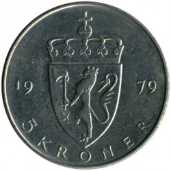 Mynt > 5kroner, 1974-1988 - Norge  - reverse
