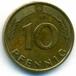 Coin > 10 pfennig, 1977 - Germany  - reverse