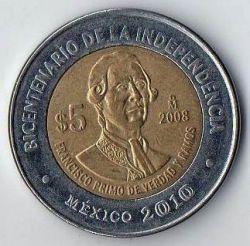Coin > 5pesos, 2008 - Mexico  (Bicentenary of Independence - Francisco Primo de Verdad y Ramos) - reverse