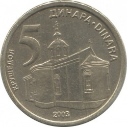 Monedă > 5dinari, 2003 - Serbia  - reverse