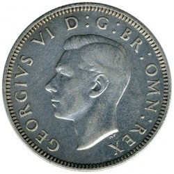 Moeda > 1 shilling, 1937-1946 - Reino Unido  (English crest, lion standing atop the crown) - obverse