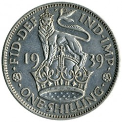 Moeda > 1 shilling, 1937-1946 - Reino Unido  (English crest, lion standing atop the crown) - reverse