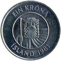 Pièce > 1couronne, 1981-1987 - Islande  - obverse