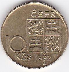 Monēta > 10kronu, 1992 - Čehoslovākija  (Alois Rasin) - obverse