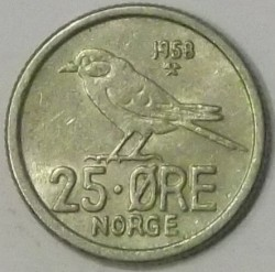 Mynt > 25 ore, 1958 - Norge  - obverse