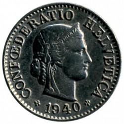 Монета > 5раппен, 1879-1980 - Швейцарія  - reverse
