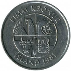 Монета > 5крон, 1981-1992 - Исландия  - reverse