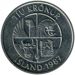 Pièce > 10couronnes, 1984-1994 - Islande  - obverse