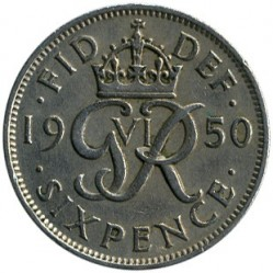 Coin > 6 pence, 1950 - United Kingdom  - reverse