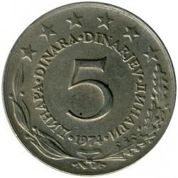 Moneda > 5dinares, 1974 - Yugoslavia  - reverse