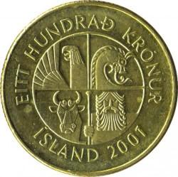 Pièce > 100couronnes, 1995-2011 - Islande  - obverse