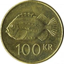 Pièce > 100couronnes, 1995-2011 - Islande  - reverse