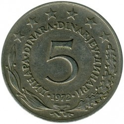 Münze > 5Dinar, 1971-1981 - Jugoslawien  - obverse
