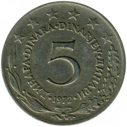 Moneta > 5dinara, 1971-1981 - Jugoslavia  - reverse