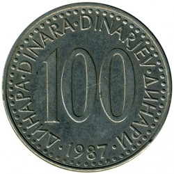 Coin > 100dinara, 1985-1988 - Yugoslavia  - obverse