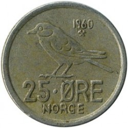 Coin > 25 ore, 1958-1973 - Norway  - reverse