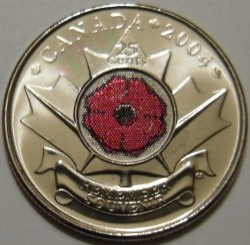 Coin > 25 cents (quarter), 2004 - Canada  (Remembrance Day) - obverse