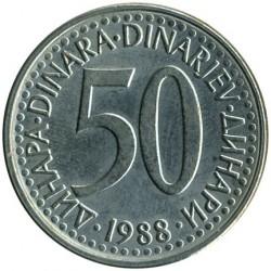 Pièce > 50dinara, 1988 - Yougoslavie  (Cuivre-Nickel / couleur grise /) - reverse