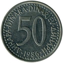 Moneda > 50dinara, 1986 - Iugoslàvia  - reverse