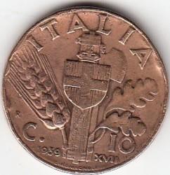 العملة > 10سنتيسيمي, 1936-1939 - إيطاليا  - reverse