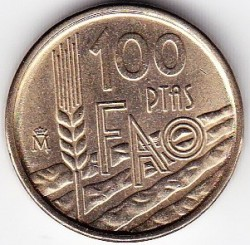 Moneda > 100pesetas, 1995 - España  (FAO) - reverse