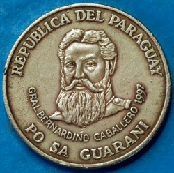 Coin > 500 guaranies, 1997 - Paraguay  - obverse