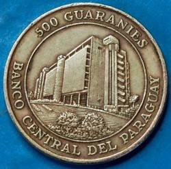 Coin > 500 guaranies, 1997 - Paraguay  - reverse