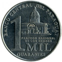 Coin > 1000guaranies, 2006-2008 - Paraguay  - obverse