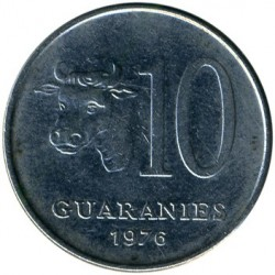 Coin > 10 guaranies, 1975-1976 - Paraguay  - obverse