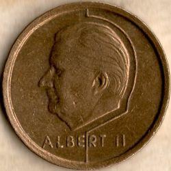 """Монета > 20франка, 1994-2001 - Белгия  (Надпис на френски - """"BELGIQUE"""") - obverse"""