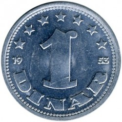 Moeda > 1dinar, 1953 - Iugoslávia  - obverse
