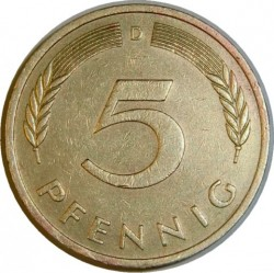 Moneta > 5 pfennig, 1950-2001 - Germania  - reverse