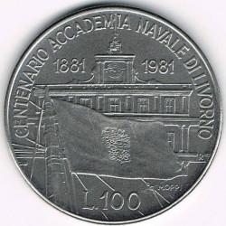 سکه > 100لیره, 1981 - ایتالیا  (100th Anniversary - Livorno Naval Academy) - reverse