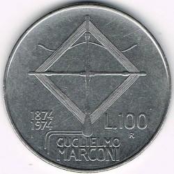 Coin > 100lire, 1974 - Italy  (100th Anniversary - Birth of Guglielmo Marconi) - reverse